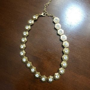 J Crew Gold and Crystal Necklace